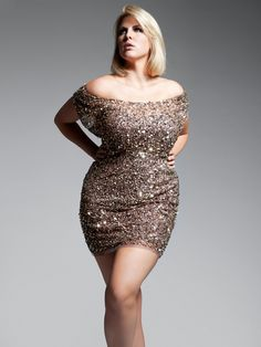 Plus Size Gold Metallic Sequin Off The Shoulder Dress Full Figured Style #UNIQUE_WOMENS_FASHION