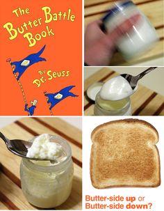 """Dr. Seuss's """"The Butter Battle"""" - make homemade butter! (for feast)"""