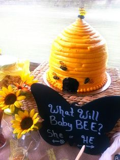 Gorgeous beehive cake at a Bee Gender Reveal Party!  See more party ideas at CatchMyParty.com!