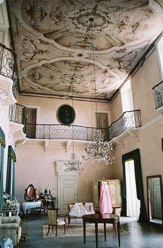 Interior balconies.