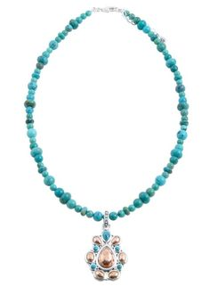 Turquoise Silver and Sterling Necklace by Barse Jewelry