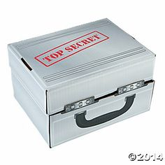 """Agents Of Truth Briefcase. $3 at Oriental Trading. Cardboard 7.5"""" x 5.75"""" x 10""""."""