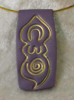 Lavender and Gold Goddess Pendant by MamaGina's AgapeClay