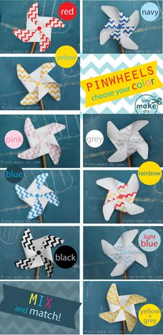 chevron pinwheel printables in pretty colors to make for birthday parties and baby showers | you make do®