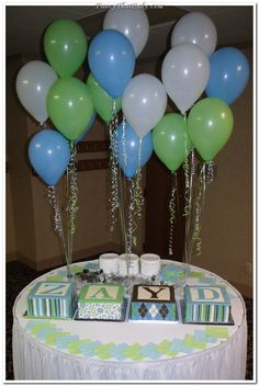 blue green baby shower | Blue, Green and Brown Baby Shower Baby Block Cakes