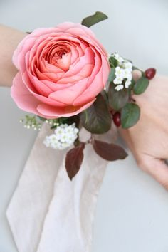 wrist corsages whites, greens and blush pink
