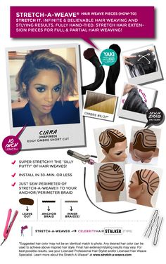 Feelin' Ciara's edgy ‪#‎ombre‬ short-hair cut? You can do it too with the Stretch-A-Weave Hair Extension Piece!!!! - Use our Full or Partial Head Size Stretch-A-Weave hair weave piece. Use 100% Indian ‪#‎Yaki‬ Straight Texture, 10-inch long, Stretch-A-Weave ‪#‎HairWeave‬ Piece... Visit our blog for more tips at http://stretchaweave.wordpress.com/ - Learn more & shop @ http://www.stretch-a-weave.com/