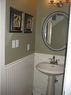Wainscoting in little bathroom