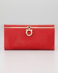 Icona Continental Wallet, Red by Salvatore Ferragamo at Neiman Marcus.