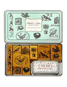 Cavallini Bird & Nest rubber stamps