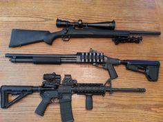 """""""Modern"""" & """"Tactical"""" guns. Remington 700 SPS Tactical .308 w/ Nikon Monarch 6-24x50 BDC. Remington 870 Tactical 12 gauge w/ Burris Fastfire 3. Smith & Wesson M & P 15 w/ Eotech XPS2 & Eotech 3x Magnifier"""