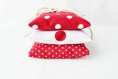 Red and White Lavender Sachets, Nautical Polka Dot, Natural Scent Drawer Sachets