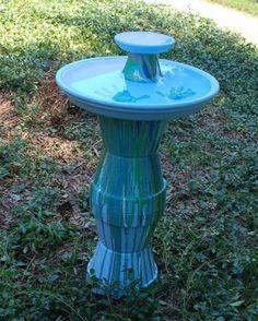 terra cotta, diy flower pot ideas, pour paint, blue green, bird baths, homemade flowers, pot bird, flower pots, terracotta pots