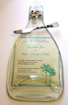 Best Wedding Gift!! Custom wine bottle cheese plate using the wedding invite! Genius.