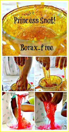 Fun sensory play idea. Make fake snot!! Make it a little thicker you got yourself a slime-like substance. All the ingredients are edible- that is if you go glitter-free!