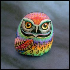 Rock painting: FANTASY OWL PAINTING  on English beach pebble by SuzannesGallery