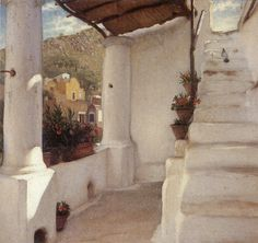 Underpaintings - 'The Staircase of a House in Capri' 1859 by Frederic, Lord Leighton