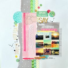"""This layout was created using a collage of one my favorite trips ever and my products from the Yes, Please collection."" Amy Tan"