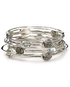 RJ Graziano Layered Stone and Crystal Bangle | Bloomingdale's