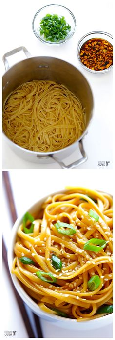 Easy Sesame Noodles -- these make the perfect hot (or cold!) side dish, or add some grilled meat and veggies to turn them into a full meal! | gimmesomeoven.com
