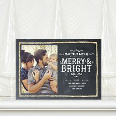 Adorn your photo with a golden glitter border. Golden Greetings - #Holiday Photo Cards by Tallu-lah for Tiny Prints in Gunmetal Gray