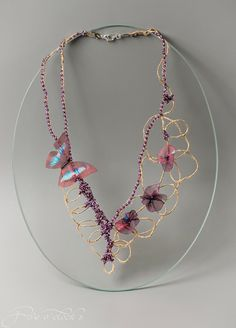 Purple beaded wedding necklace with rustic by FiveOClocks on Etsy, $125.00