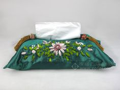 HAND EMBROIDERED SILK TISSUE BOX BLUE | chinese embroidery tutorial hand embroideri, tissue boxes, chines hand, tissu box, box blue