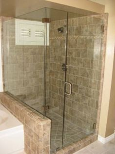 glass shower with pony wall