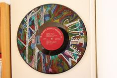 colored pencil on vinyl record