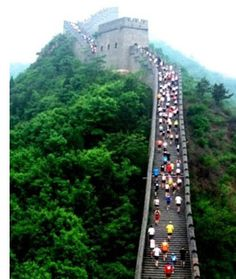 Run a half marathon, then stay for a long wkd. Best 2013 half #marathons. Great Wall Half-Marathon.      Yah Thats never going to happen!!! If only I could run a half marathon and to top it off up stairs...  WHAT!? I love the idea of all these destination Half marathons