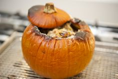 Stuffed Pumpkin from Georgia Pellegrini. What a great treat for the Thanksgiving table.