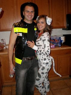 Fire Fighter and Dalmatian Costumes Picture. Could have been done wayyyyy better! Just pinning this to remember.