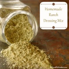 Homemade Ranch Dressing Mix! This recipe takes less than 5 minutes to whip together and you know exactly what is in your mix - no MSG or other chemicals. Plus some yummy slow cooker recipes using Ranch Dressing Mix!