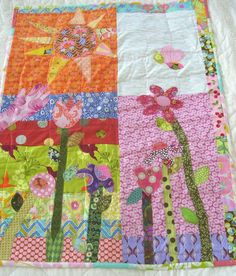 Whimsical Flowers Patchwork Quilt Touch The Sun by betrueoriginals, 90.00