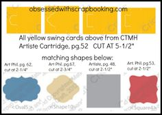 Obsessed with Scrapbooking: Close to My Heart Artiste Swing Card Chart!
