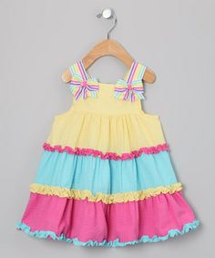 Take a look at this Yellow & Pink Seersucker Dress - Toddler & Girls by Rare Editions on #zulily today!