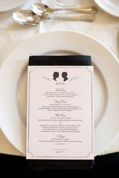 menu with custom silhouettes | Alyse French #wedding