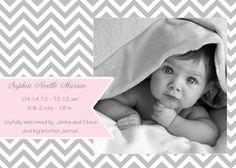 Printable Birth Announcement- CHEVRON Birth Announcement by Belle Prints