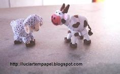 Quilled sheep and donkey - by: luciartempapel.blogspot.com