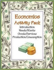 Economics Activity COMBO Pack: 8 NO PREP Printables~  Fun, easy, and ready-to-use!  Compiles three other products.  Includes activities for teaching introduction to economics, needs/wants, goods/services, and production/consumption.  Print and go!  #economic #lesson #packet