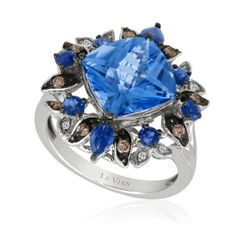 Ocean Blue Topaz Crazy Collection White Gold Ring