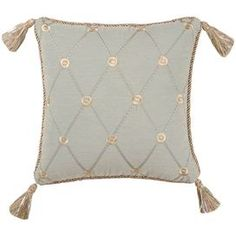 "Pillow with tasseled corners and a trellis motif accented by rope-twist edging. Product: PillowConstruction Material: Polyester coverColor: Blue gray Features:  Insert included Dimensions: 18"" x 18"""