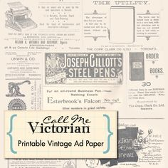 Free Printable Scrapbook Paper...these are magazine ads from 1848, love this vintage look!