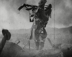 """The Pipers - Over a 1000 pipers died during WWI. These extraordinary men were sitting ducks as they went over the top to pipe their men into battle. Piper Harry Lunan was the last surviving piper and he said,    """"I just played whatever came in to my head, but I was worried about tripping on the uneven ground, which interrupted my playing. The enemy fire was murderous, the men were falling all around me. I was lucky to survive. Hearing the pipes gave the troops courage."""""""