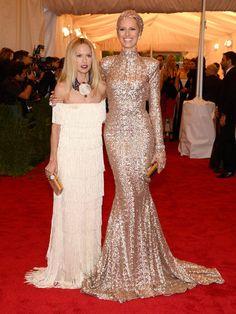 Rachel Zoe and Karolina Kurkova MET Gala.... This gold dress=Everything