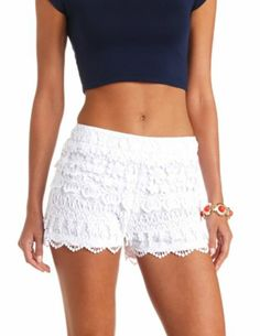 Scalloped Lace High-Waisted Shorts: Charlotte Russe