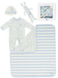 £77 'GIFT SET 2' cotton blanket/toy/sleepsuit/hat