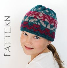 This is a Knitted Sport Hat Pattern only, not the actual Hat! The pattern contains detailed written instructions for shaping, the colorwork pattern