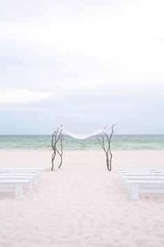 ceremony right on the beach △
