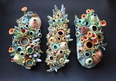 artists, dian lublinski, coral ceramics, inspir, polym clay, artist dian, clay form, coral triptych, potteri